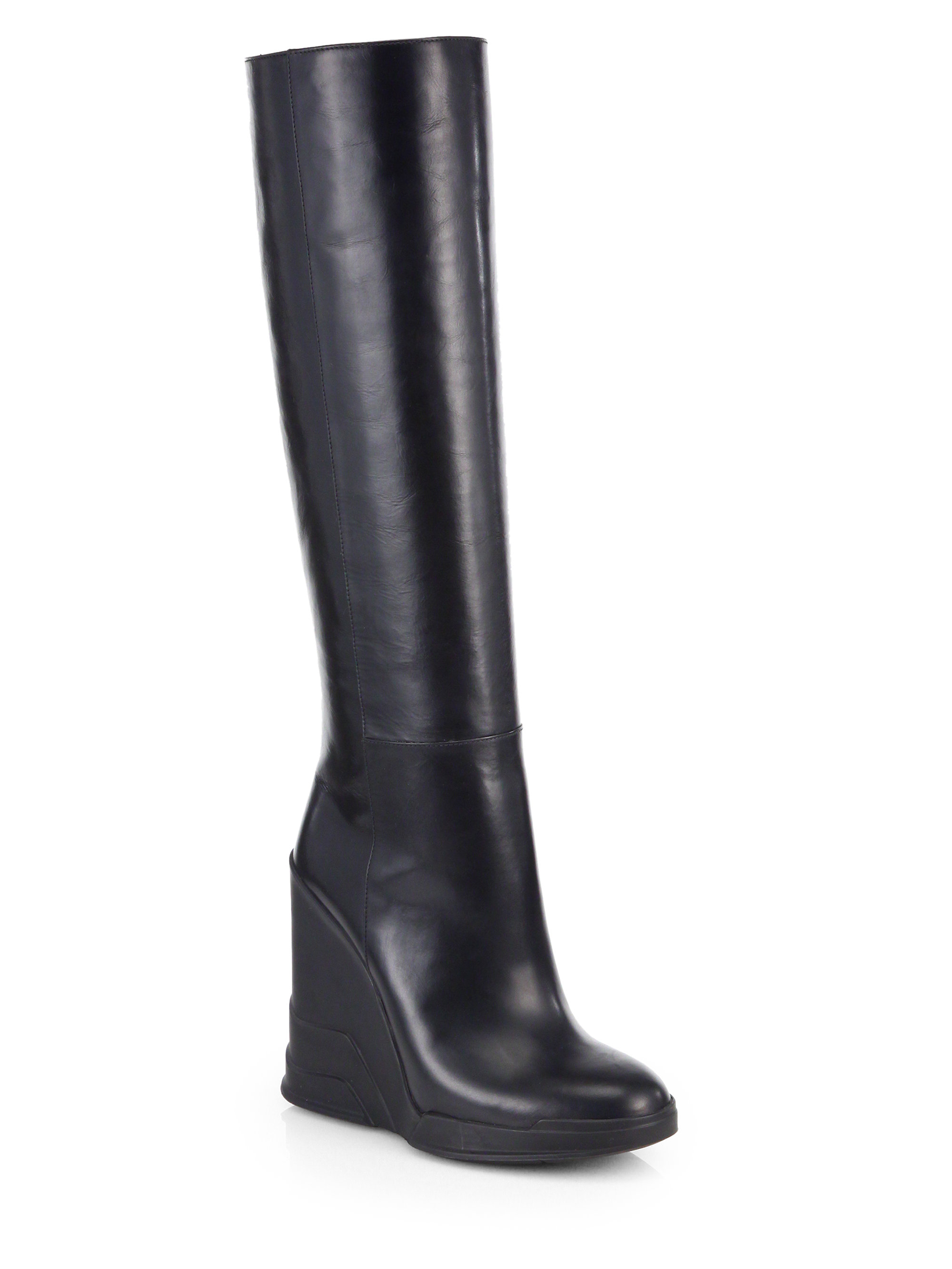 Prada Leather Knee High Wedge Boots In Black Lyst