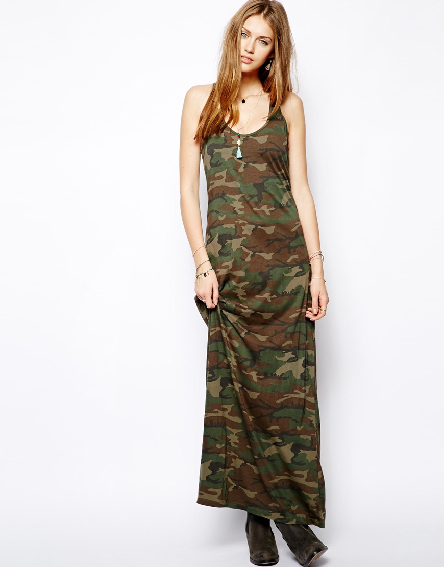Batik Tuch Lyst - Ralph Lauren Camouflage Maxi Dress In Green