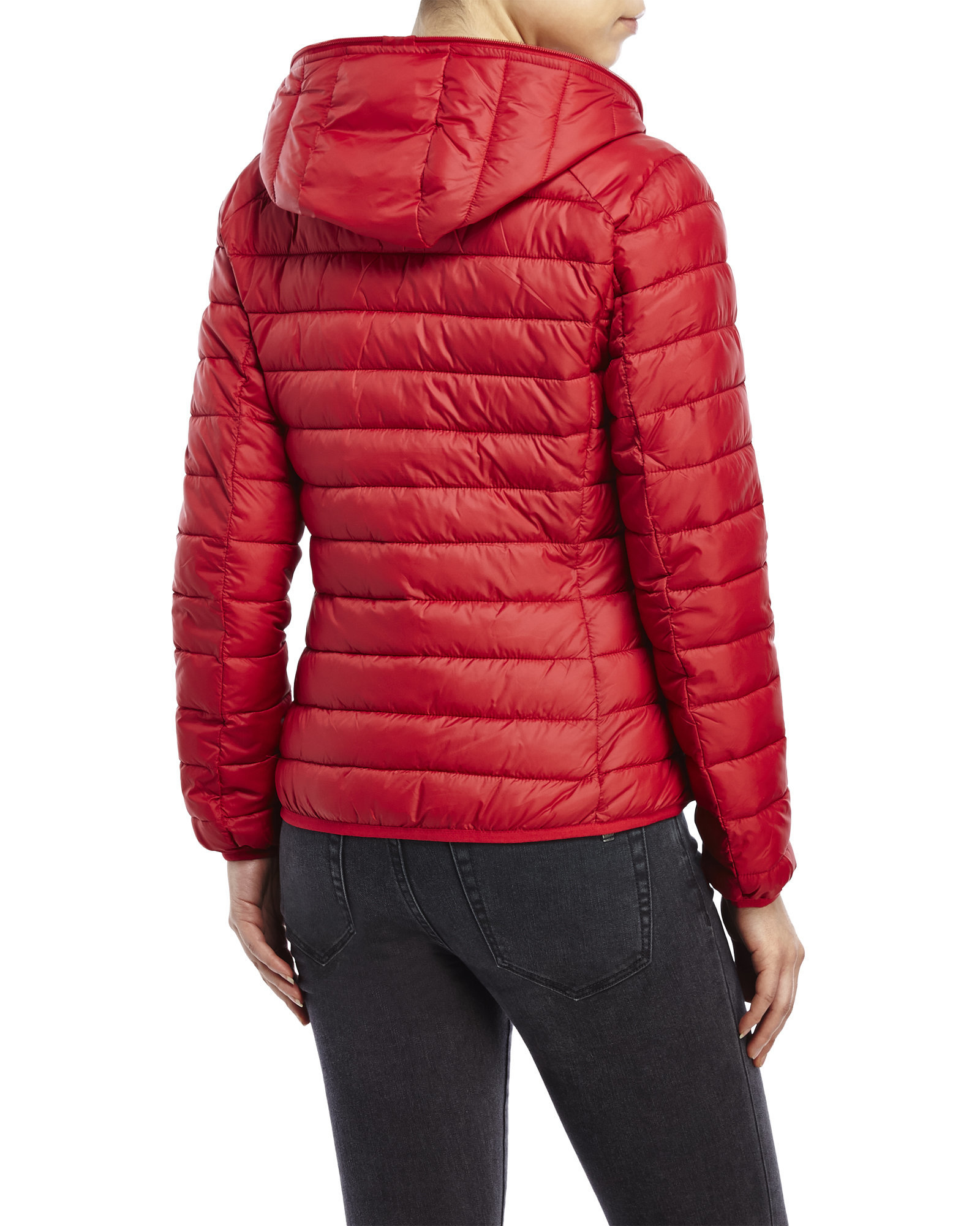 Lyst Save The Duck Packable Quilted Jacket With Hood In Red - Save The Duck