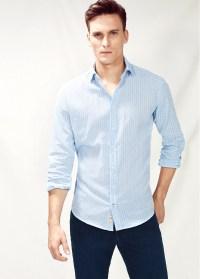 Lyst - Mango Slim-Fit Tie Print Linen-Blend Shirt in Blue ...