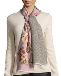 Lyst - Gucci Orophin Floral Wool Scarf in Pink