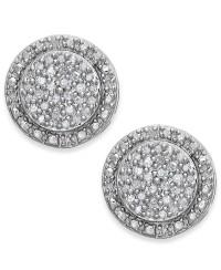 Macy's Diamond Pave Stud Earrings In Sterling Silver (1/5 ...