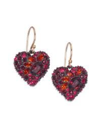 Alexis bittar Encrusted Black Cherry Heart Earrings in Red ...