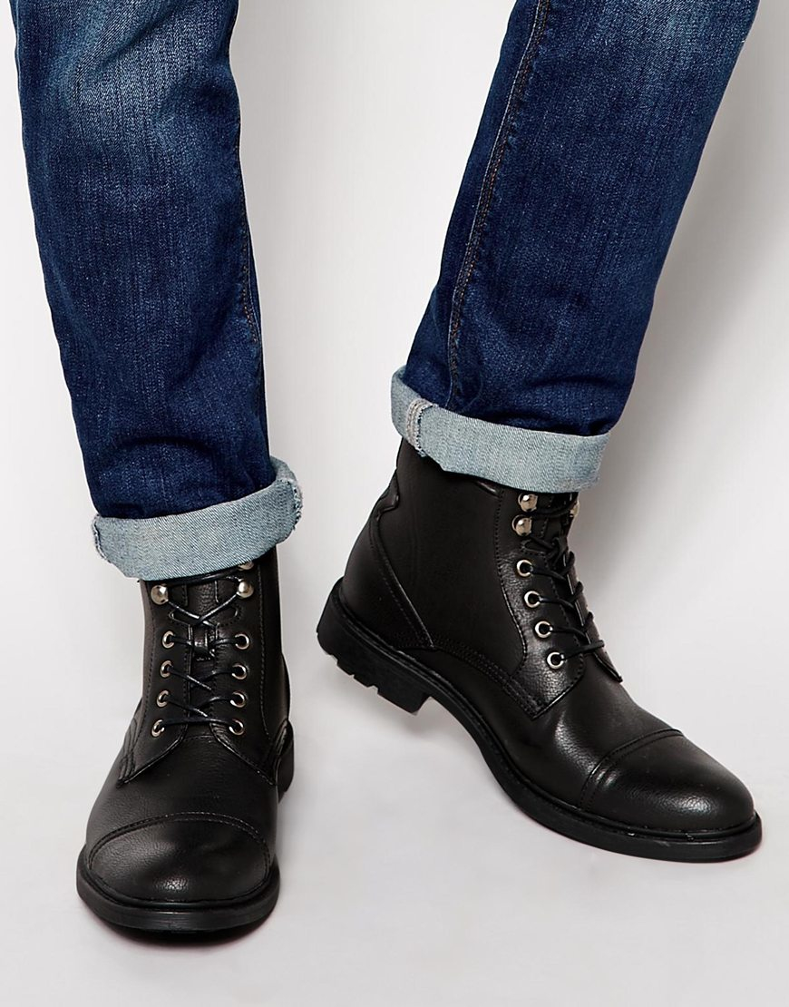 Asos Work Boots In Black Leather In Black For Men Lyst