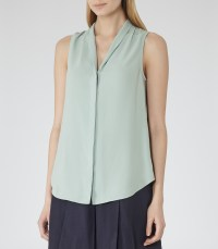 Lyst - Reiss Anchor Shawl Collar Tank Top in Green
