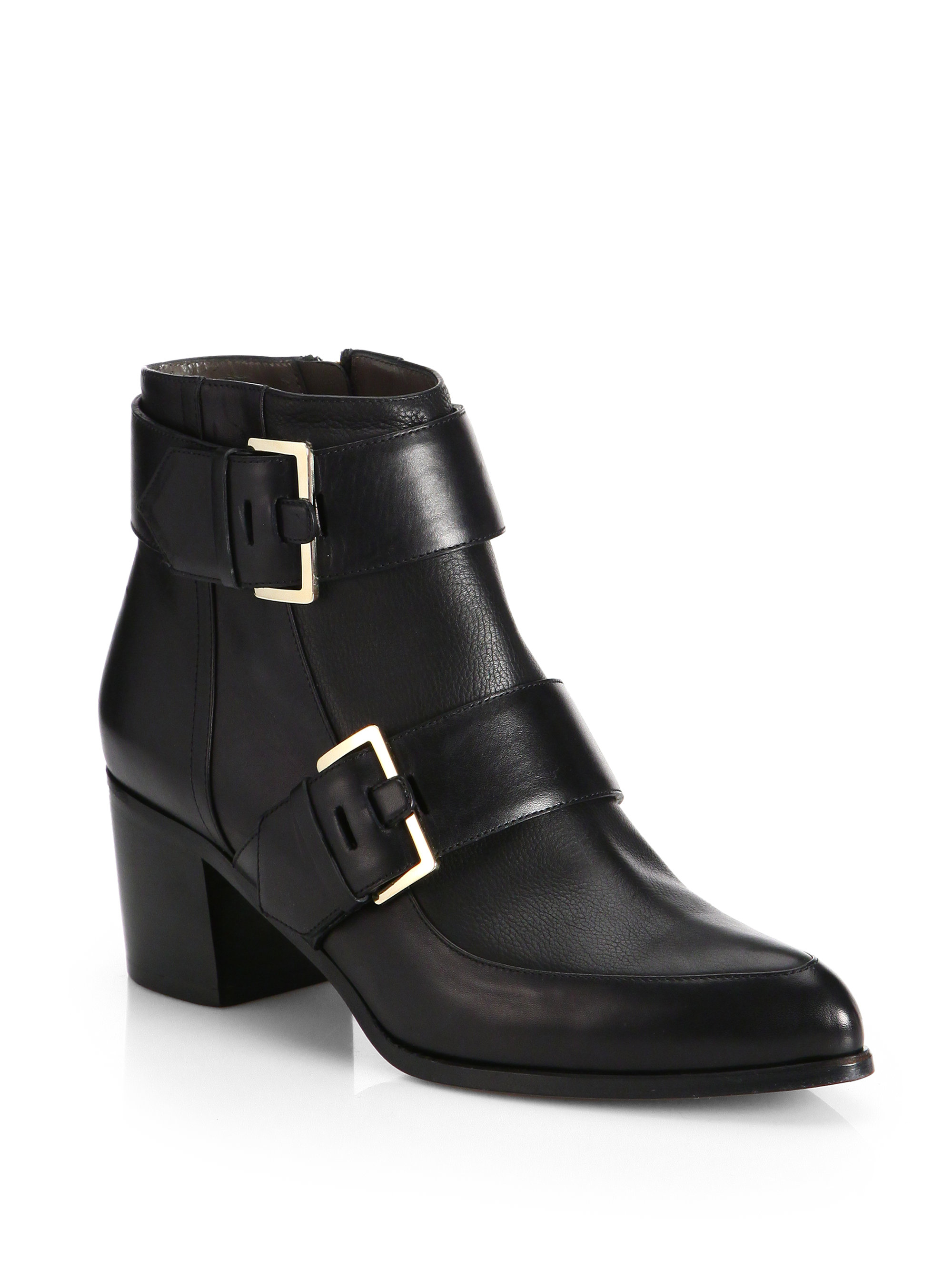 Jason Wu Leather Buckle Ankle Boots In Black Lyst