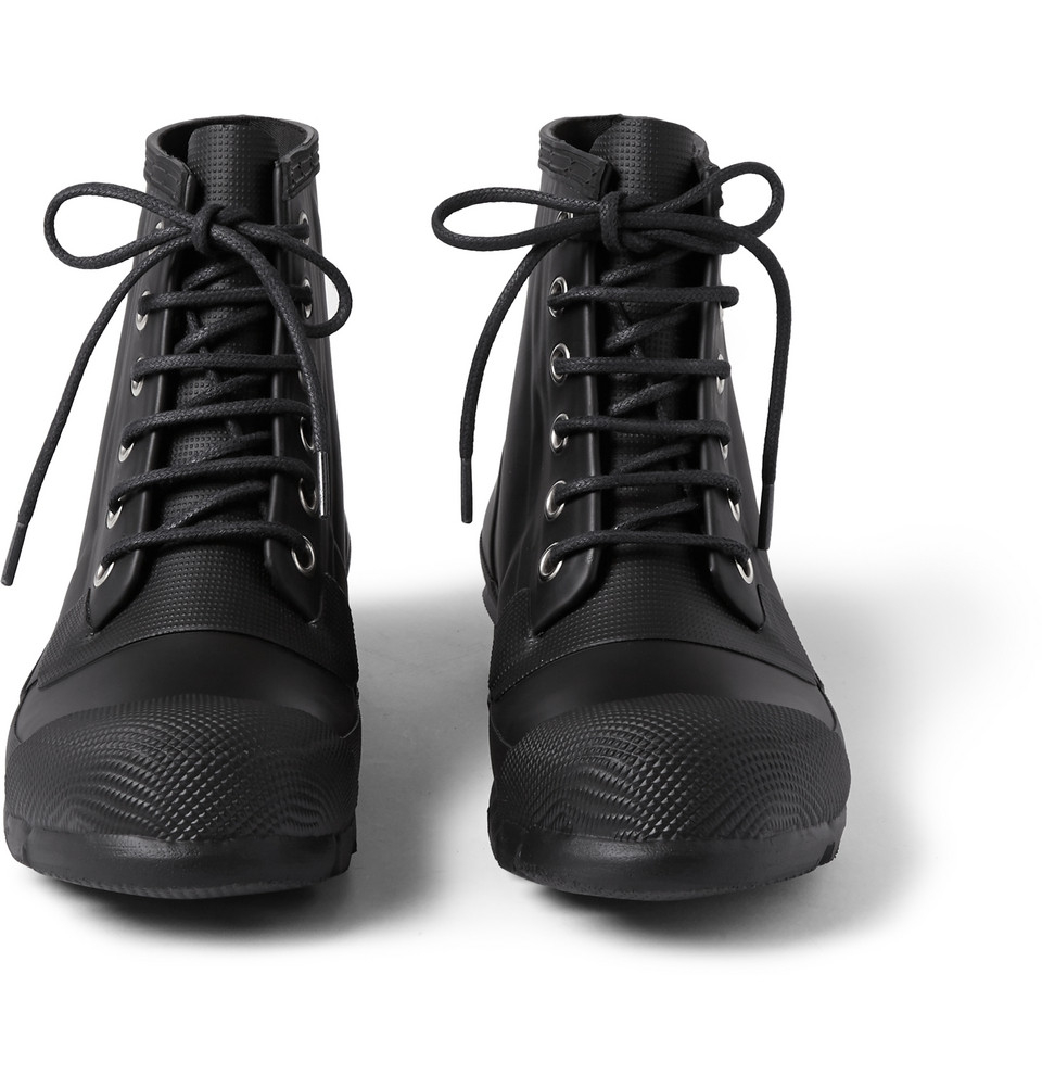 Hunter Lace Up Rubber Boots In Black For Men Lyst