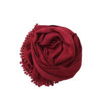 Bajra Scarf With Ball Fringe in Red | Lyst