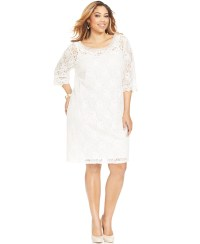 Lyst - Spense Plus Size Three-Quarter-Sleeve Lace Dress in ...