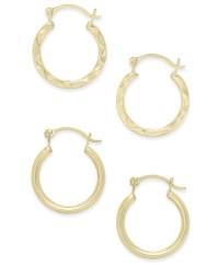 Macy's Duo Set Of Small Round Hoop Earrings In 10k Gold in ...