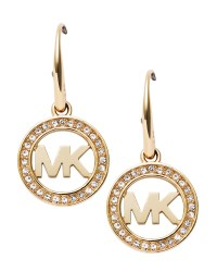 Michael kors Pave Logo Earrings in Metallic | Lyst