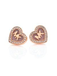 Michael kors Logo Heartpave Stud Earrings in Pink | Lyst