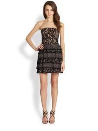 Bcbgmaxazria Ellie Strapless Lace Cocktail Dress in Black ...