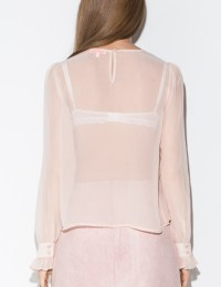 Pixie market Pale Pink Chiffon Bow Tie Ruffled Blouse in ...