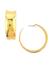 Lyst - Nest Hammered Gold-plated Hoop Earrings in Metallic