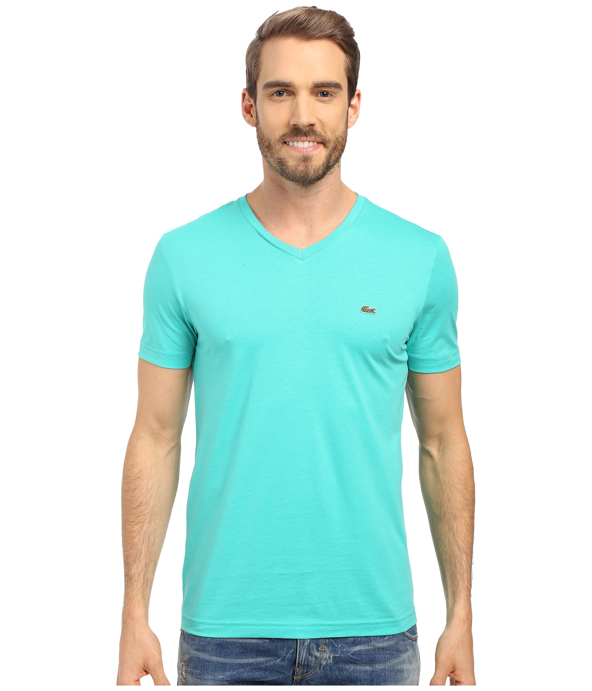 V Neck T Shirt Lyst - Lacoste S/s Pima Jersey V-neck T-shirt In Green For Men