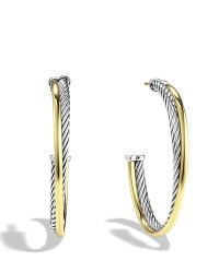 David yurman Crossover Hoop Earrings With 18k Gold in ...