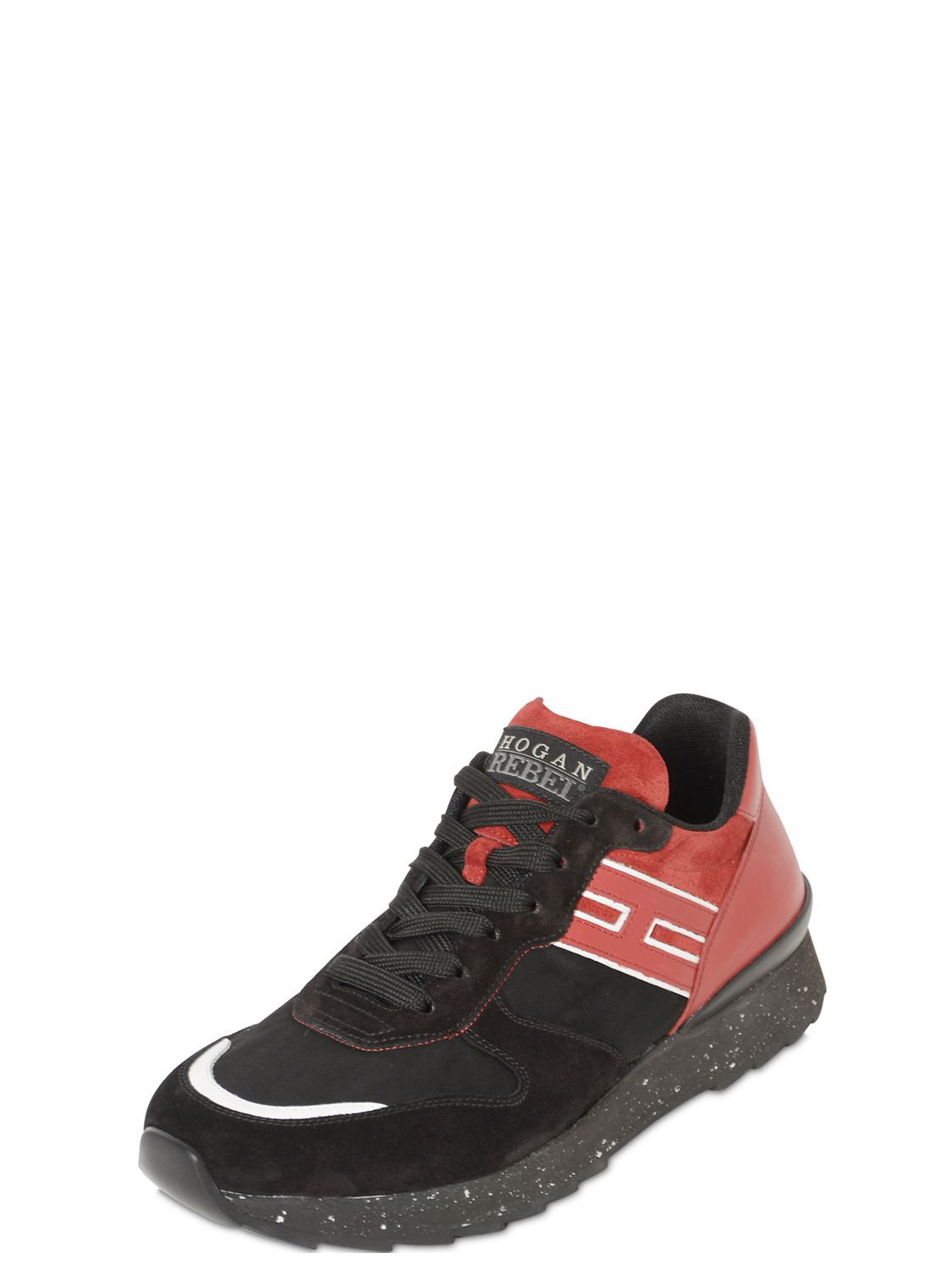 Forzieri Hogan Hogan Rebel Running Leather And Nylon Sneakers In Red For