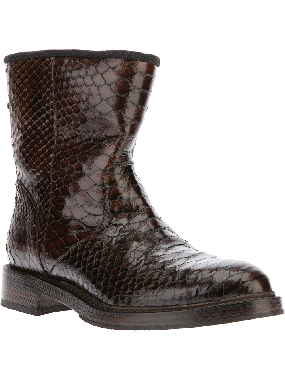 Lyst Brunello Cucinelli Snake Skin Boot In Brown