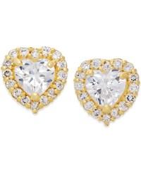Macy's Cubic Zirconia Heart Stud Earrings In 10k Gold in ...