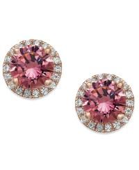 Macy's 14k Rose Gold Over Sterling Silver Earrings, Pink ...