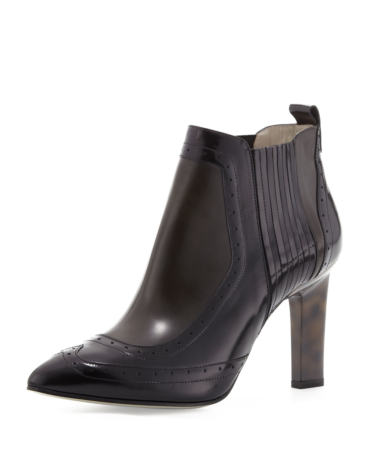 Jason Wu Buffed Leather Brogue Ankle Boot In Black Grey