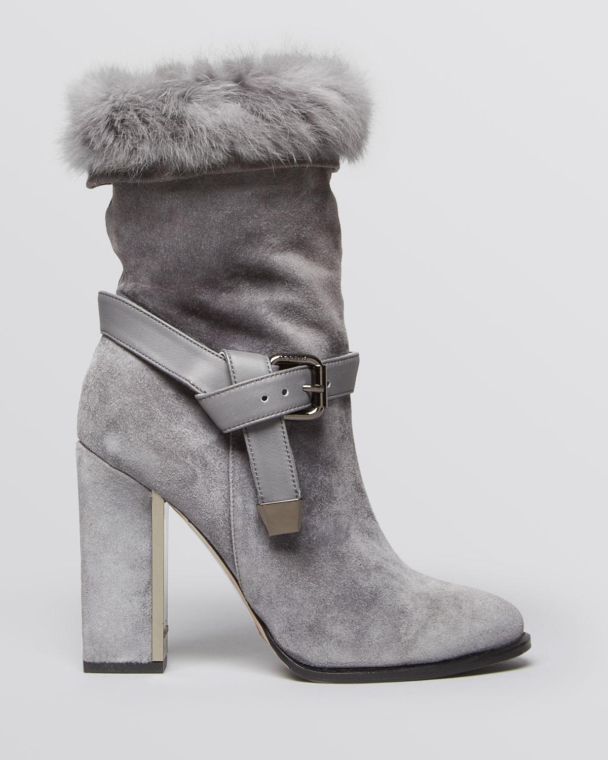 Le Silla Boots Le Silla Pointed Toe High Heel Fur Platform Boots In Gray