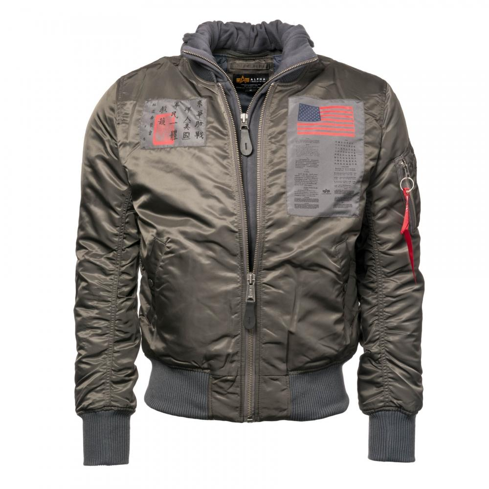 D Tec Alpha Industries Mens Ma 1 D Tec Blood Chit Jacket In Gray For Men