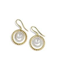 David Yurman Pearl Earrings with Diamonds in Gold in Gold ...