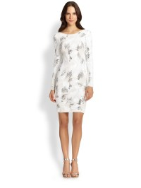 Lyst - Bcbgmaxazria Sequin Long-sleeve Cocktail Dress in White
