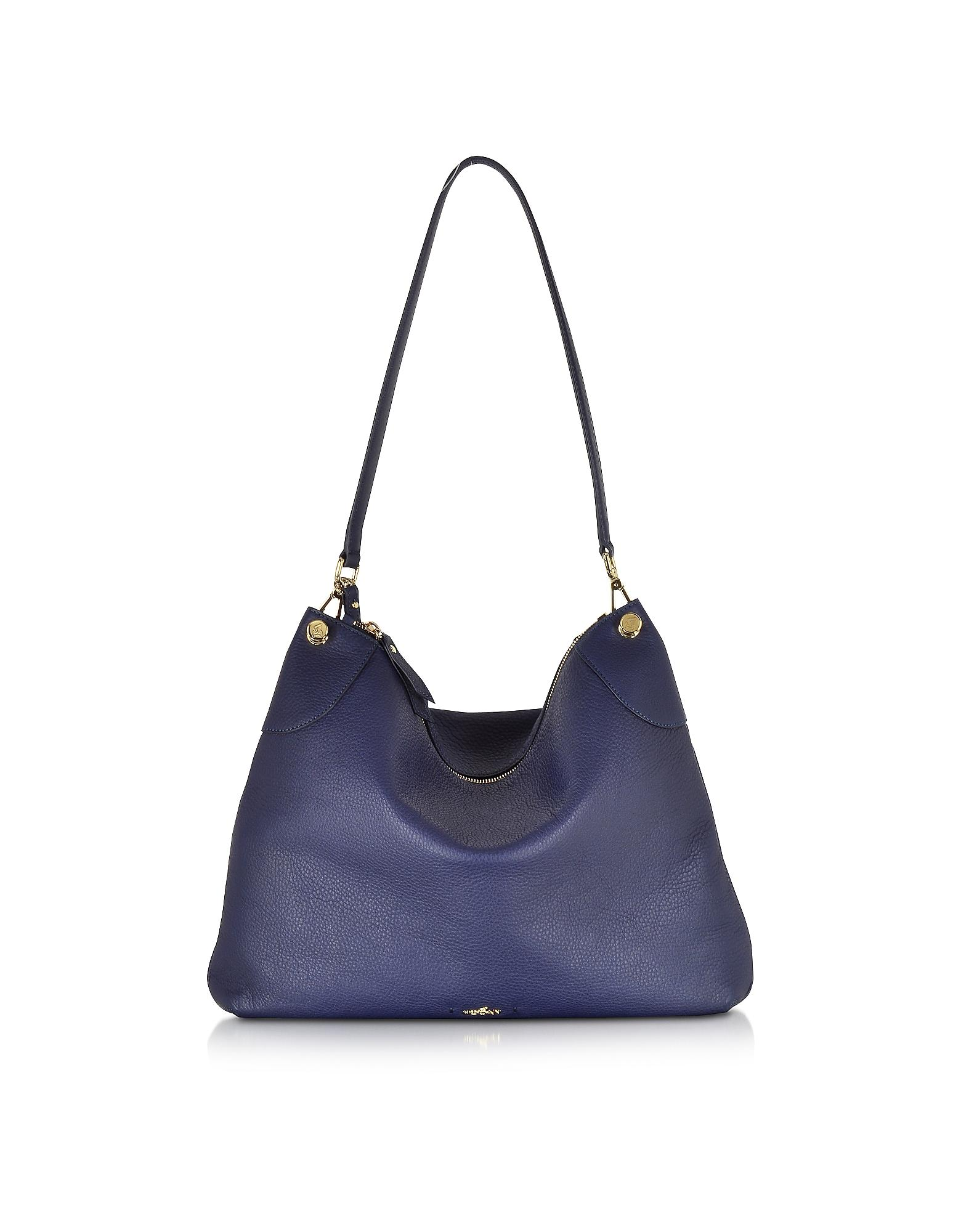 Forzieri Hogan Hogan Leather Hobo Bag In Blue Lyst
