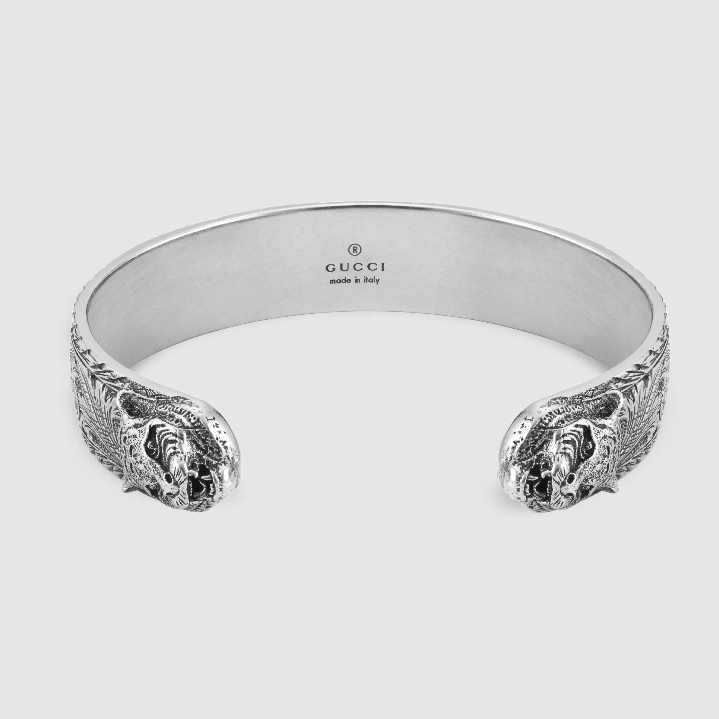 f0277d6d22a0 Lyst Gucci Bracelet In Silver With Feline Head In Metallic