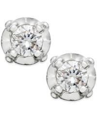 Macy's Diamond Stud Earrings In 10k White Gold (1/10 Ct. T ...