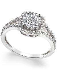 Macy's Cushion-cut Diamond Promise Ring (1/4 Ct. T.w.) In ...