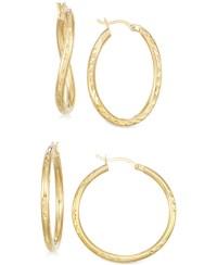 Macy's Set Of Two Textured Hoop Earrings In 14k Gold ...