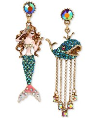 Betsey johnson Gold-tone Crystal Pave Mermaid And Whale ...