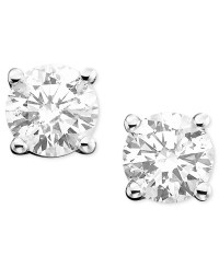 Macy's Diamond Stud Earrings (1 Ct. T.w.) In 14k Gold Or ...