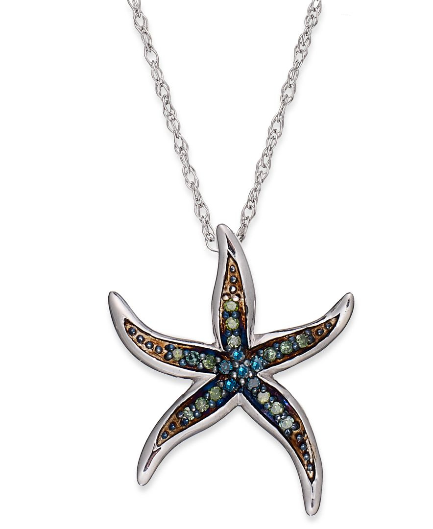 Macy39s Sterling Silver Necklace Blue And Green Diamond