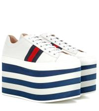 Gucci Leather Platform Sneakers in Blue | Lyst