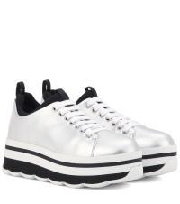 Prada Wave Metallic Leather Platform Sneakers in Metallic ...