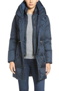 Lyst - Cole Haan Shawl Collar Down Coat in Gray