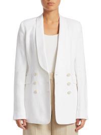 Lyst - Theory Shawl Collar Linen Blazer in White