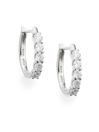 "Effy Diamond & 14k White Gold Hoop Earrings/1"""" in Silver ..."