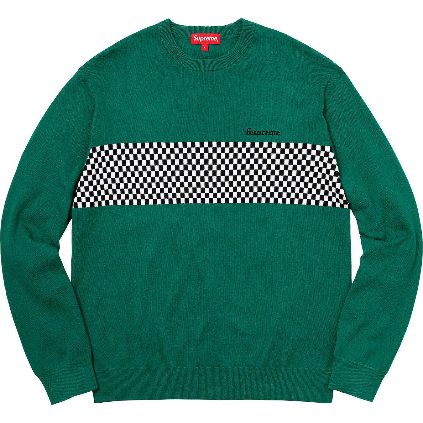 Supreme Sweater Men S Checkered Panel Crewneck Sweater Forest Green