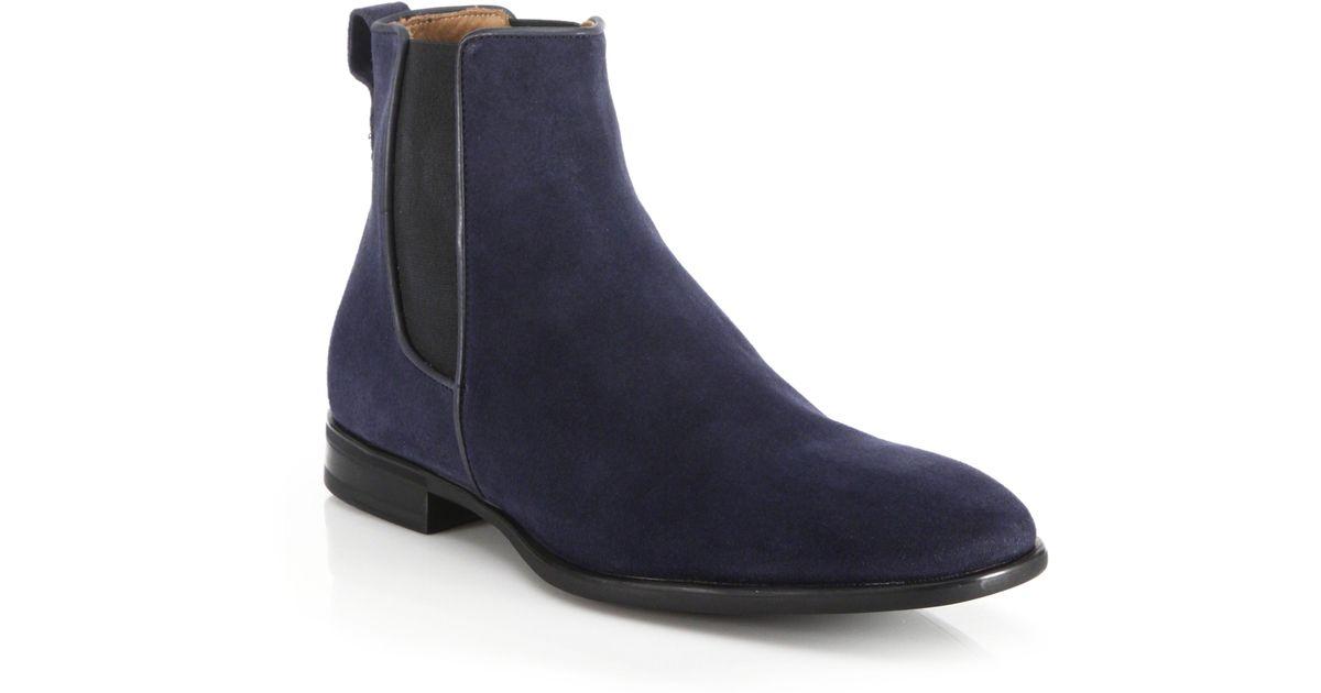 22 Model Blue Suede Chelsea Boots Womens Sobatapkcom