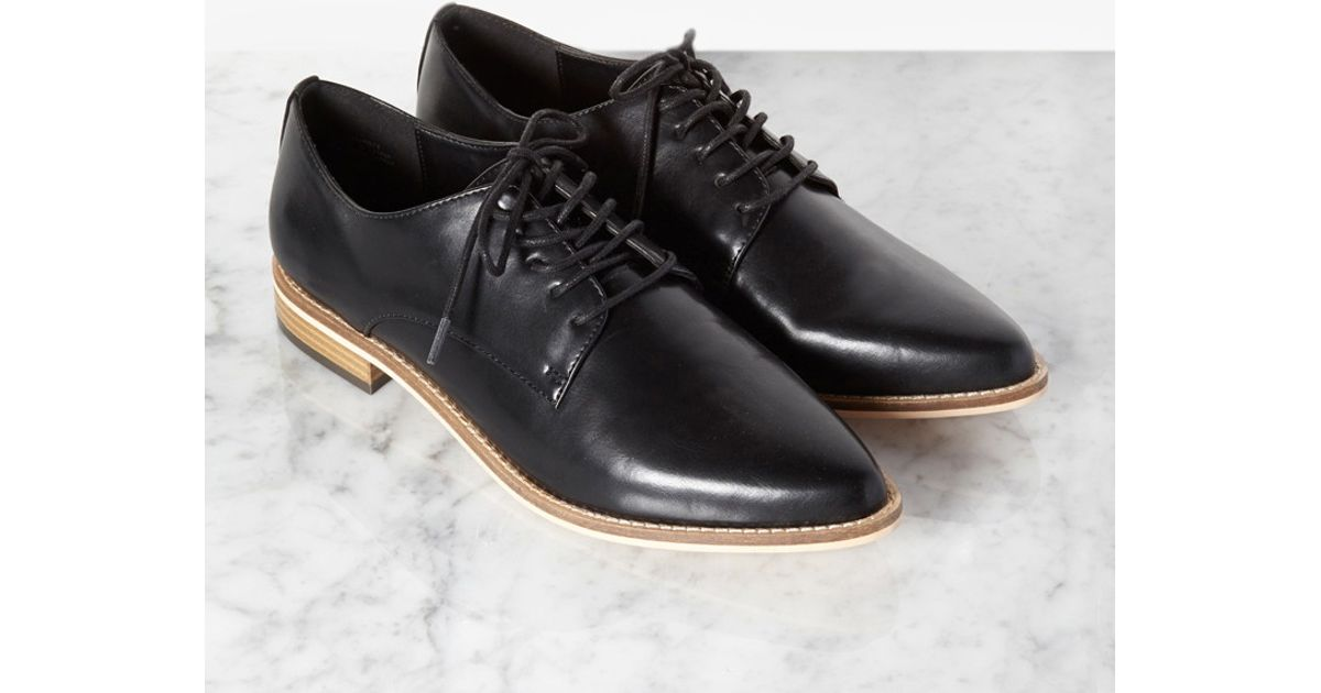 Lyst Forever 21 Faux Leather Pointed Toe Oxfords In Black