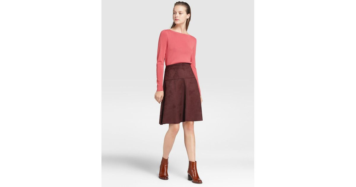 Maroon Suede Skirt High Waisted Red Pencil Skirt 2019