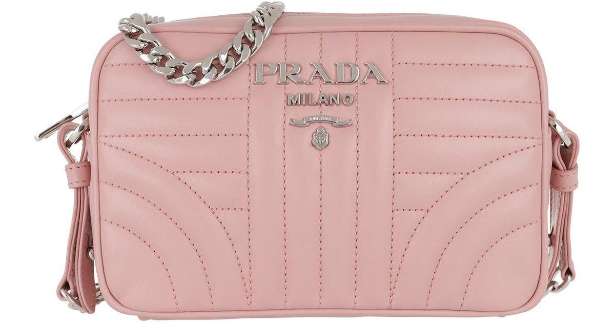 Prada Diagramme Crossbody Bag Leather Pesco in Pink - Lyst