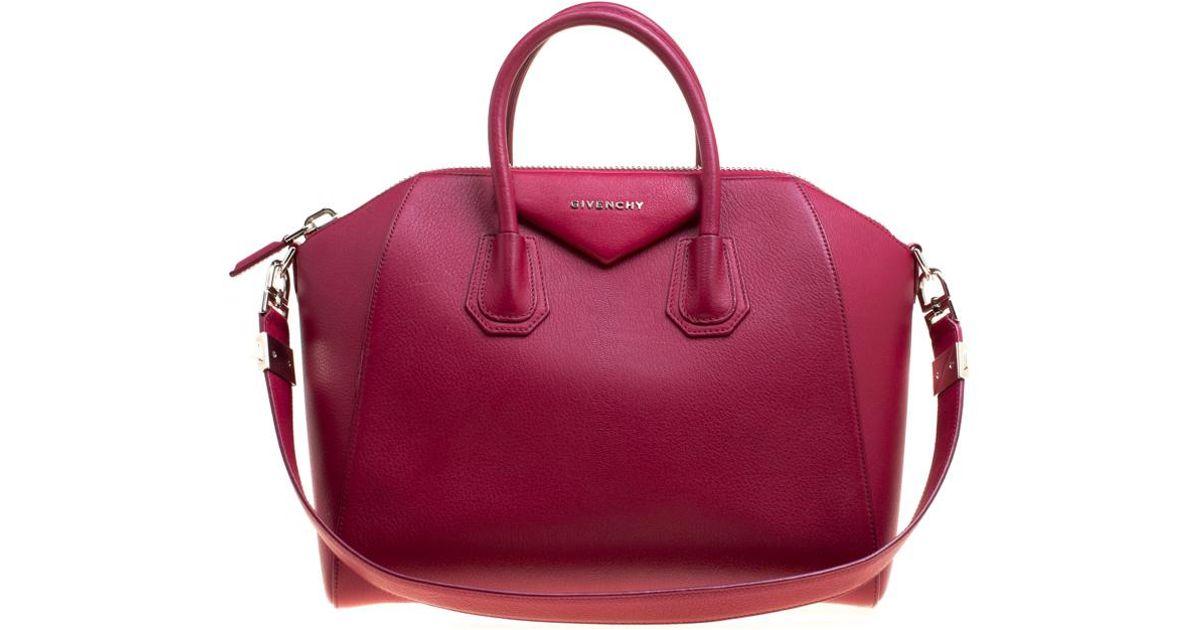 Givenchy Magenta Leather Medium Antigona Satchel In Pink