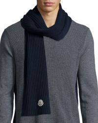 Moncler Men's Cashmere Solid Ribbed Knit Scarf in Blue for ...
